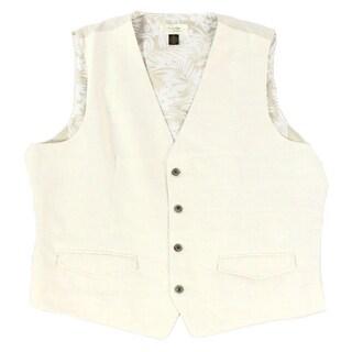 Tasso Elba NEW Beige Mens Size 2XL Four-Button Two-Pocket Linen Vest