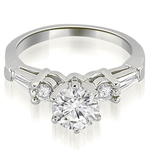 0.85 cttw. 14K White Gold Baguette and Round Diamond Engagement Ring