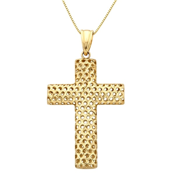 Just Gold Puffed Mesh Cross Pendant in 10K Gold - Yellow