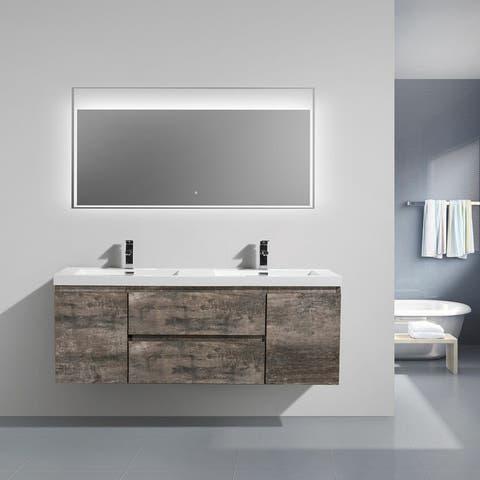 Alma-Pre 60 inch Double Sink Wall Mount Vanity