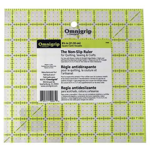 """Omnigrid Omnigrip Neon Ruler 8-1/2in Square - 1"""" x 9"""" x 9"""""""