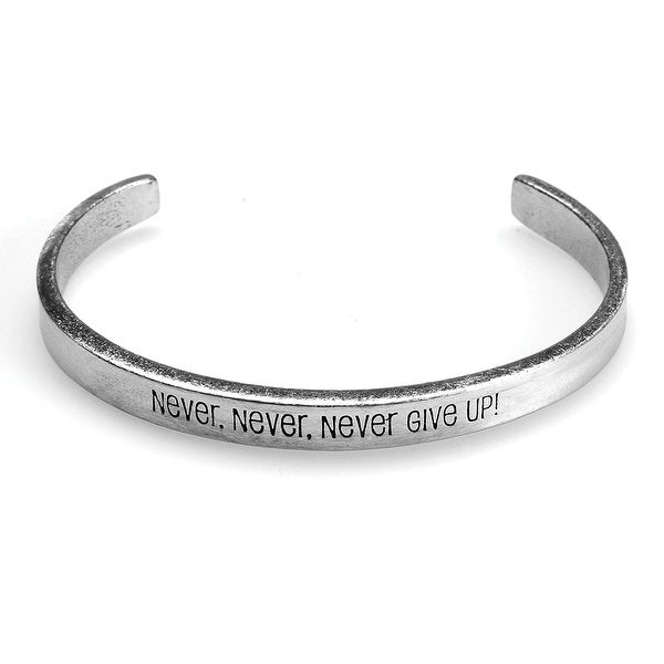 Women's Note To Self Inspirational Lead-Free Pewter Cuff Bracelet - Never Give Up - Silver