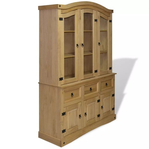 Superb Vidaxl Buffet Hutch Mexican Pine Corona Range Display Cabinet Unit Bookcase Home Remodeling Inspirations Basidirectenergyitoicom