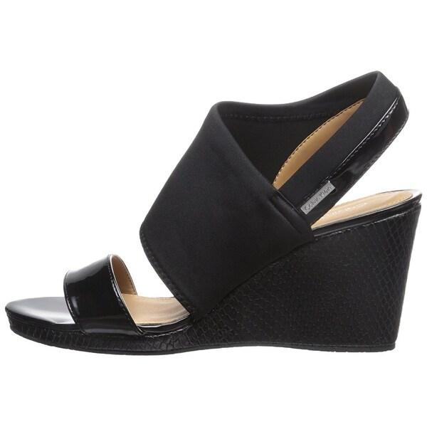 Calvin Klein Womens Bryley Patent Open Toe Special Occasion Platform Sandals