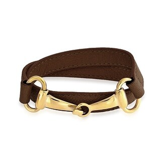 Brown Leather Gold Plated Stainless Steel Horses Bit Wrap Bracelet