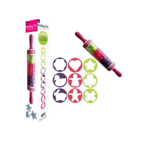 Pink and Green Multi Shaped Rolling Pin with Cookie Cutters Set - N/A