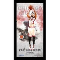 Derrick Rose New York Knicks Player Profile Framed 10x20 Photo Collage w Game Used Basketball