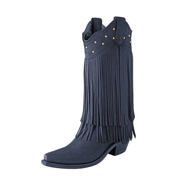 Old West Cowboy Boots Womens Fringe Snip Toe Black Nubuck