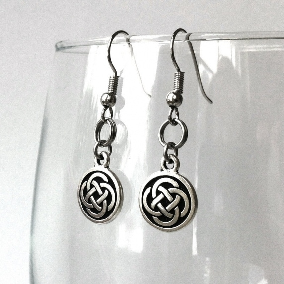 Loralyn Designs Celtic Knot Dangle Earrings Stainless Steel French Hook - Silver