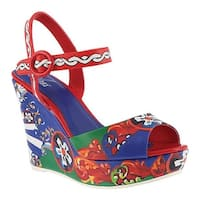 Azura Women's Stella Wedge Sandal Red Multi Synthetic