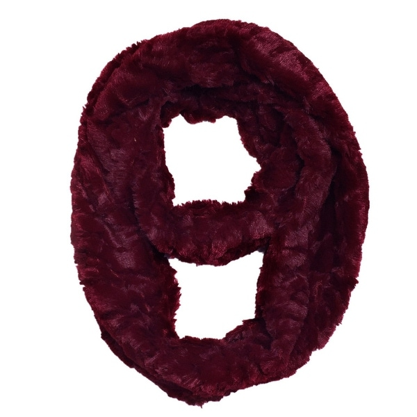 """Super Soft Faux Synthetic Fur Warm Infinity Loop Circle Scarf - Burgundy - one size: 6"""" wide, 62"""" around"""