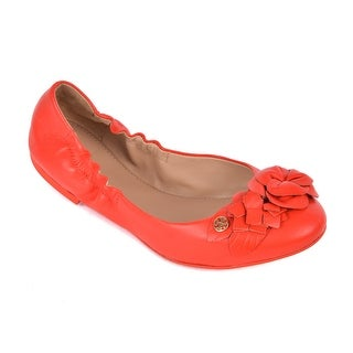 Tory Burch Women's Orange Leather Cap Toe Blossom Ballet Flats