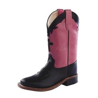Old West Cowboy Boots Girls Kids Square Toe Black Hot Pink BSY1808
