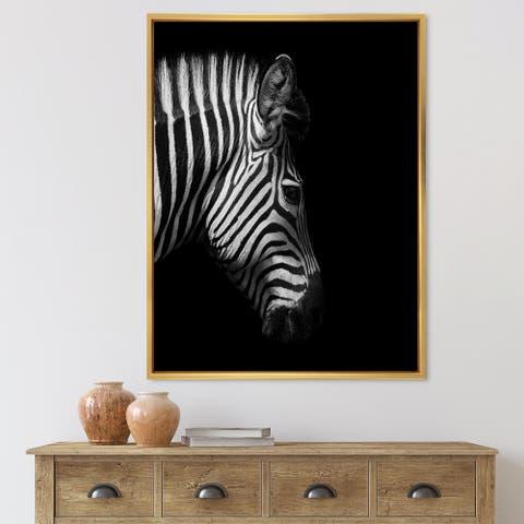 Designart 'Monochrome Portrait of Zebra Head' Farmhouse Framed Canvas Wall Art Print