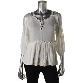 Free People Womens Lace 3/4 Sleeves Peplum Top - XS