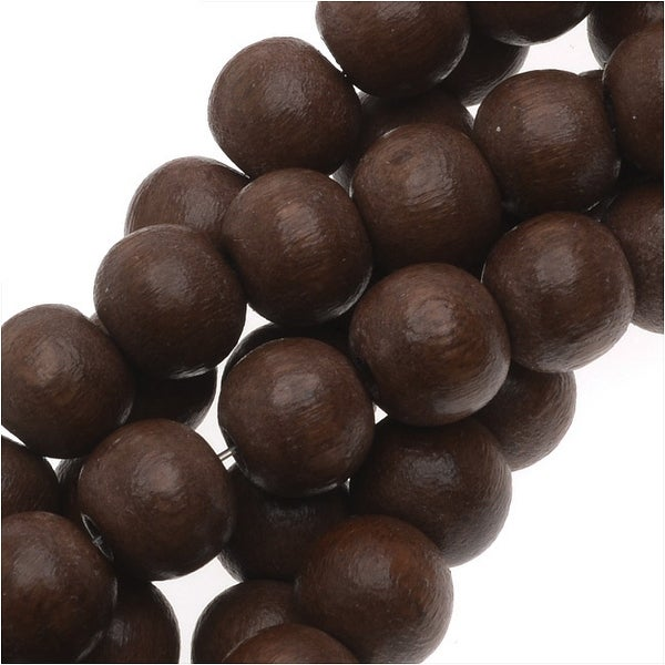 Pukalet Wood Beads, Dyed Smooth Round 6mm, 66 Pieces, Robles Brown Lacquer