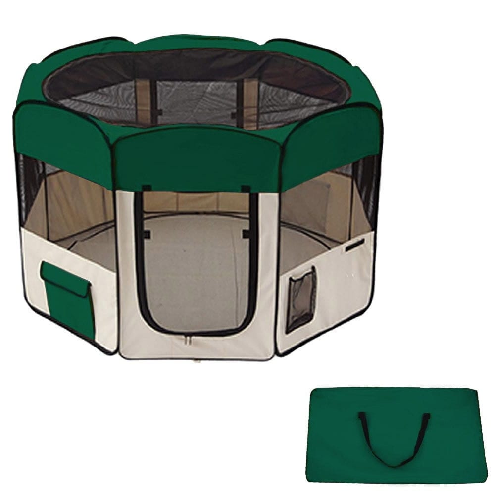 60Pet Dog Kennel Fence Puppy Soft Playpen Exercise Folding Crate W/Bag Zip - Green