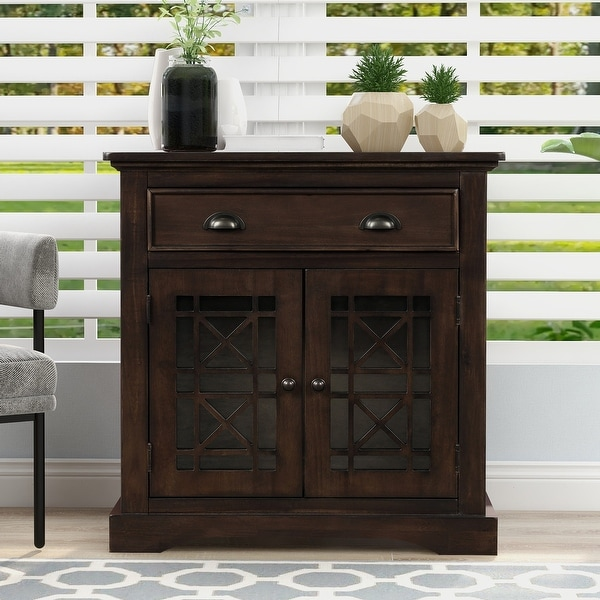 Retro Espresso Storage Cabinet Consol Table with Doors and Drawers. Opens flyout.