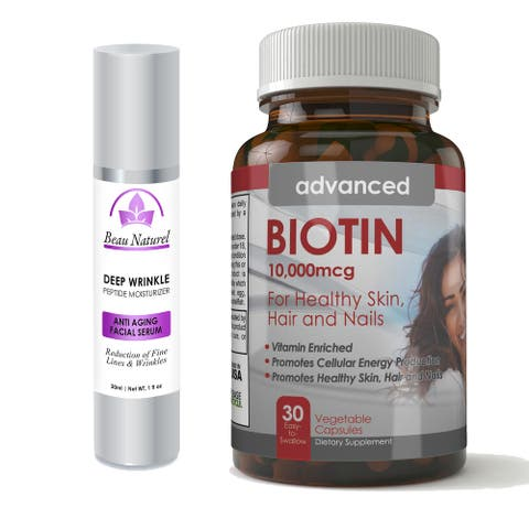 Ageless Intensive Deep Wrinkle Peptide Facial Serum Creme and Biotin 10,000mcg Hair/ Skin and Nails Combo Pack