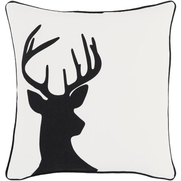 "18"" Jet Black and Polar White Decorative Country Rustic Holiday Throw Pillow Cover"