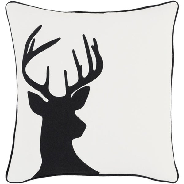 "Title: 18"" Jet Black and Polar White Decorative Country Rustic Holiday Throw Pillow –Down Filler"