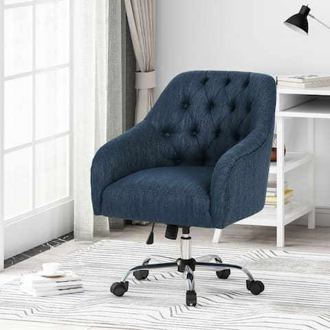 Barbour Tufted Home Office Chair with Swivel Base by Christopher Knight Home - N/A