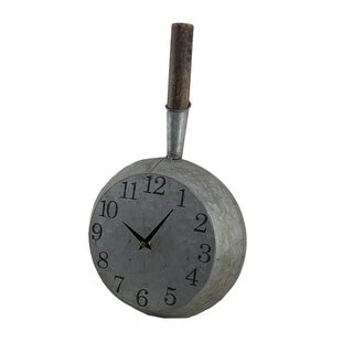 Vintage Look Galvanized Finish Frying Pan Metal Wall Clock