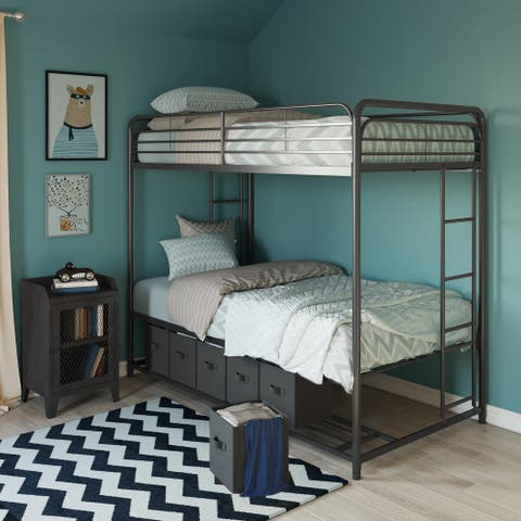Avenue Greene Brisa Twin-over-Twin Bunk Bed with Storage Bins