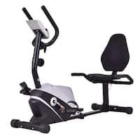 Goplus Recumbent Exercise Bike Stationary Bicycle Magnet Cardio Workout Fitness - Black