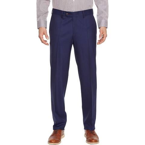 Robert Graham Mens Pants Blue 44X39 Unfinished-Hem Dress - Flat Front