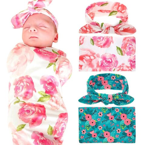 Newborn Baby Swaddle Blanket and Headband Value Set Pink and Blue