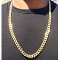 Mcs Jewelry Inc 14 KARAT YELLOW GOLD MIAMI CUBAN CURB LINK HOLLOW CHAIN NECKLACE 11MM - Thumbnail 1