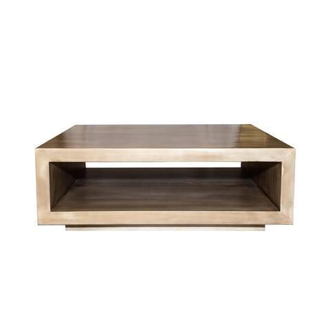Open Square Solid Wood Minimalist Coffee Table, Mid-Century Modern Design