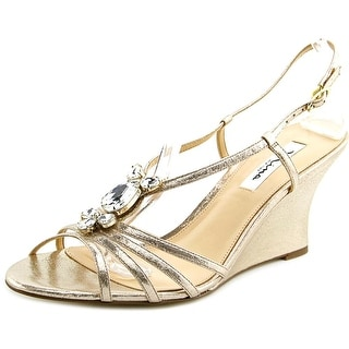 Nina Mineola Women Open Toe Synthetic Gold Wedge Heel