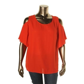 NY Collection Womens Plus Casual Top Cold Shoulder Scoop Neck