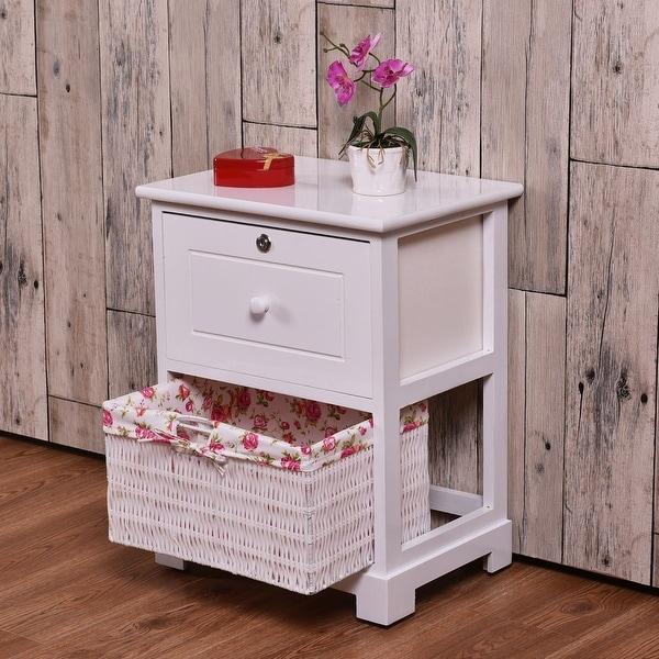 Costway White End Side Accent Table Night Stand Bedroom W