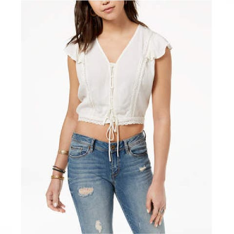 American Rag Juniors Cropped Lace Up Top Egret Size Extra Large - White - X-Large