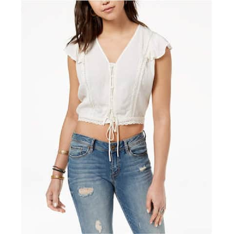 American Rag Juniors Cropped Lace Up Top Egret Size Medium - White