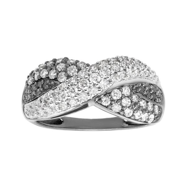 3/4 ct Black & White Diamond Ring in 14K White Gold