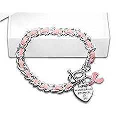 Breast Cancer Awareness Leather Rope Pink Ribbon Charm Bracelet