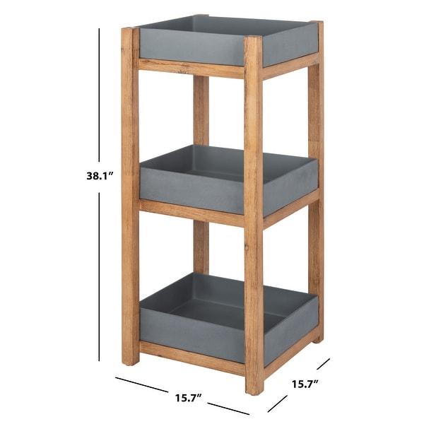 """SAFAVIEH Outdoor Artria 3-Tier Storage Shelf - 15.7"""" W x 15.7"""" L x 38.1"""" H - 15.7"""" W x 15.7"""" L x 38.1"""" H"""