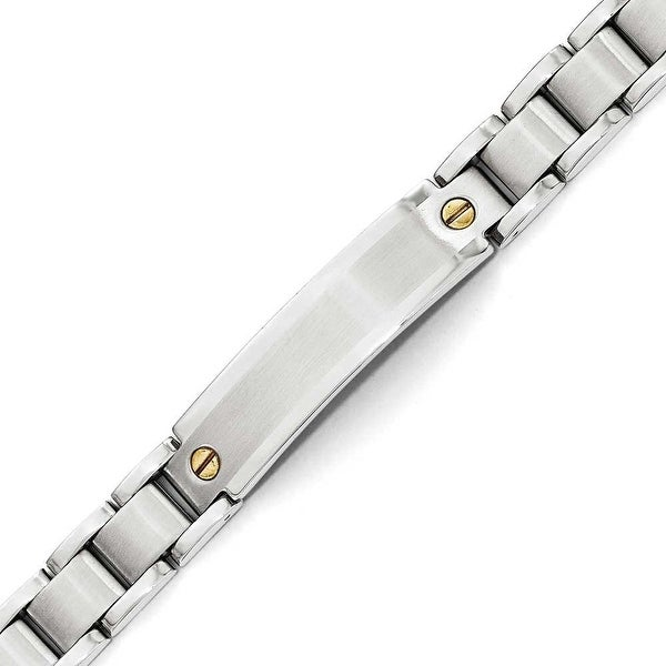 Chisel Stainless Steel Polished & Brushed ID Yellow IP-Plated Bracelet