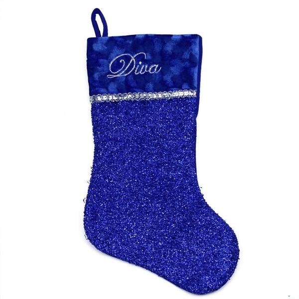 """17"""" Metallic Royal Blue Embroidered """"Diva"""" Christmas Stocking with Shadow Velveteen Cuff"""