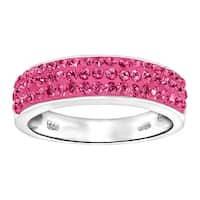 Crystaluxe Band Ring with Pink Swarovski Elements Crystals in Sterling Silver