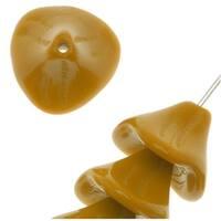 Czech Glass Beads Three Petal Flower 12mm Opaque Mustard Yellow (12)