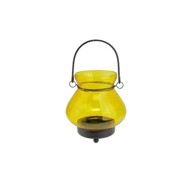 "4.75"" Transparent Yellow Glass Mini Tea Light Candle Lantern Decoration"
