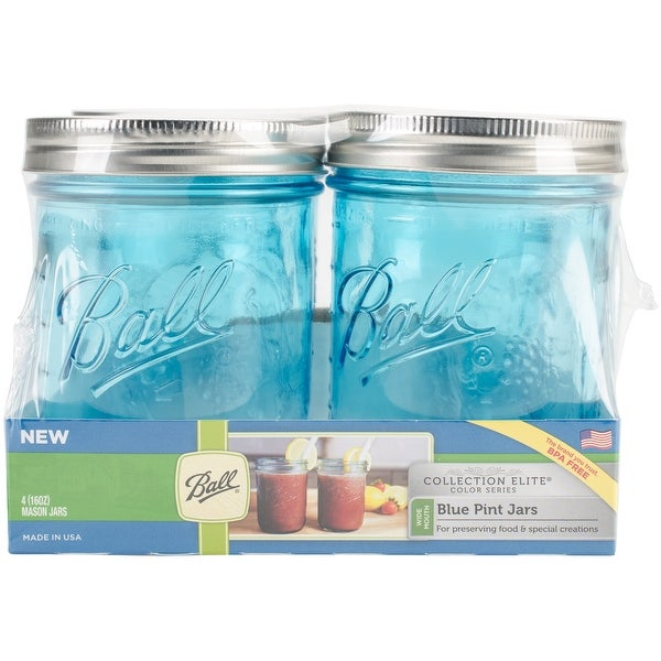 Ball (R) Wide Mouth Canning Jars 4/pkg-Pint - Elite Color Series Blue