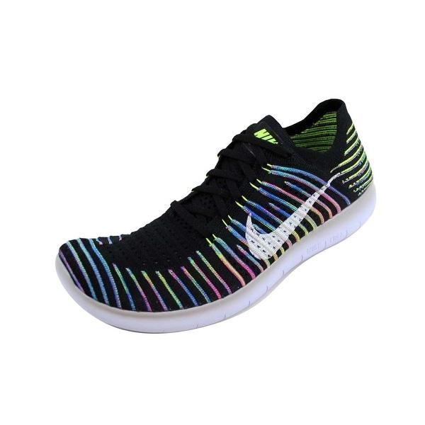 47189611889d Shop Nike Men s Free RN Flyknit Black White-Volt-Blue Lagoon 831069 ...