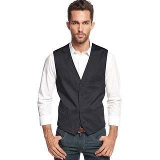 INC International Concepts Slim Fit Vest Black Medium M Solid Cotton