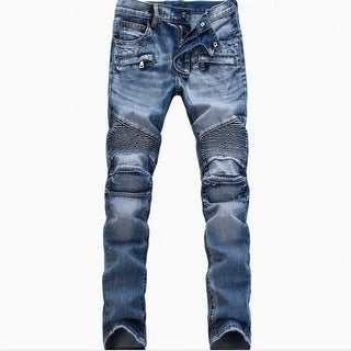Link to Men Ripped Slim Straight Fit Biker Jeans With Zipper Deco Similar Items in Pants